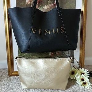 🍀 Venus Reversible Black/Gold Tote 2 in 1 Bag 🍀